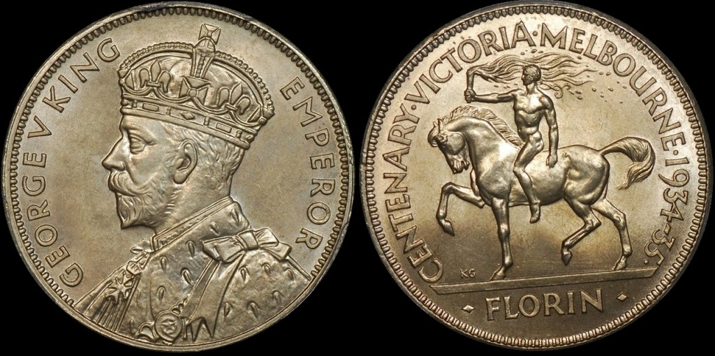 Australia 1934-35 Centenary Florin