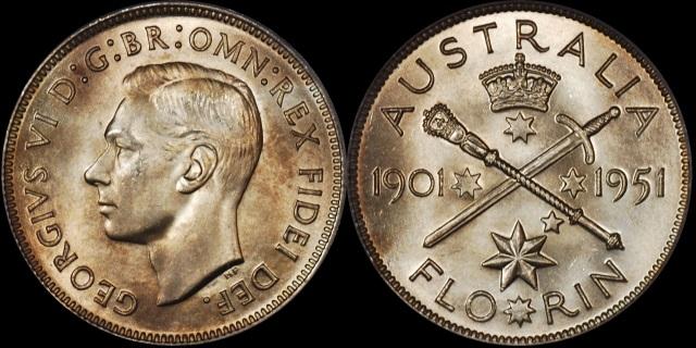 Australia 1951 Federation Florin