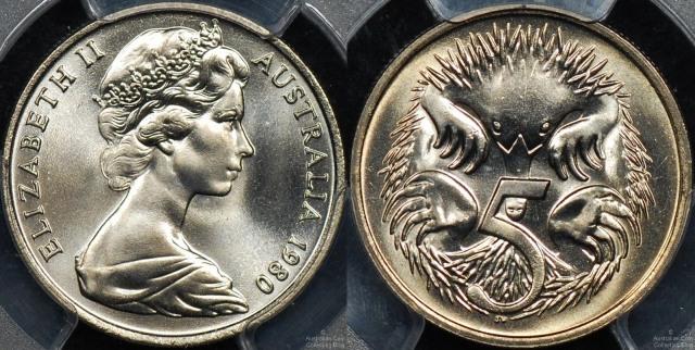 Australia 1980 Five Cent Coin