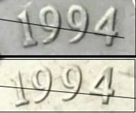 Australia 1994 50c - Narrow Date (top) Wide Date (bottom)