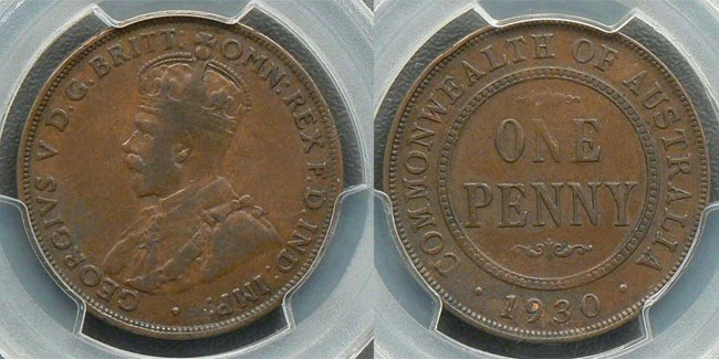 The Australian 1930 Penny (image courtesy Drake Sterling Numismatics)